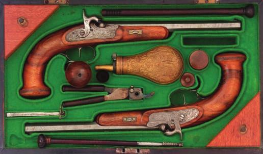 160 160 A PAIR OF HUNGARIAN PERCUSSION RIFLED TARGET PISTOLS BY KIRNER ÉS FIJA PESTEN, CIRCA 1832-42 with swamped octagonal sighted barrels signed in full and rifled with eight grooves, engraved