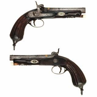 169 169 A PAIR OF SPANISH PERCUSSION OFFICERS PISTOLS BY YBARZABAL, EIBAR, CIRCA 1830-40 each with swamped octagonal sighted barrel, struck with the gold-lined mark of Gabriel Benito Ybarzabal (Neue
