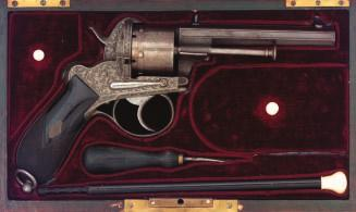 177 177 A BOHEMIAN SIX-SHOT PIN-FIRE REVOLVER BY LEBEDA A PRAGUE, CIRCA 1860 with signed octagonal barrel engraved with linear frames on each face and fitted with blued fore-and back-sight, engraved