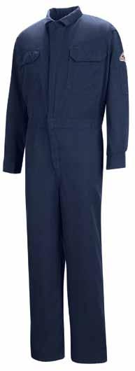 deluxe coveralls One piece, top stitiched, lay-flat collar. Two-way, concealed, Nomex taped, brass break-away zipper with concealed snap at top of zipper and at neck. Concealed snap closure on cuff.