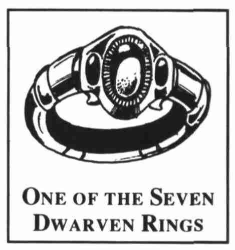 Rings of Power / The Nine Rings for Mortal Men - The Seven Dwarven Rings 95 These rings are each made of enchanted and virtually weightless gold ithilnaur and are inscribed in Quenya using the
