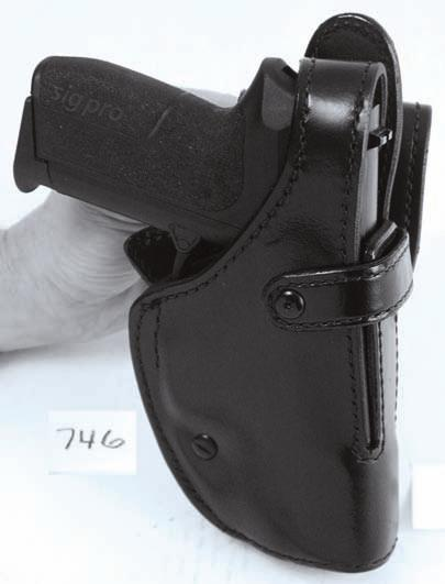 This holster is leather lined and has a polyethylene layer to add strength.