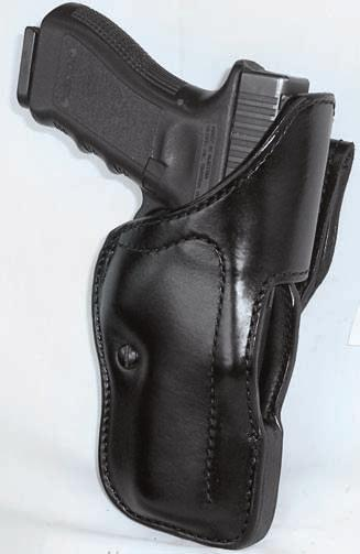 DUTY HOLSTERS 11 H740-SH LEVEL TWO SECURITY - AUTOMATICS The H740-SH features the low profile thumb break with wrap around front safety strap, metal reinforced belt loop with tension screw, security