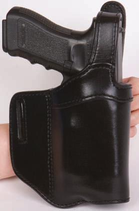 H738-SH TAC This holster has a reinforced belt loop jacket slot, leather lined, covered trigger guard, open bottom, metal reinforced thumb break. A layer of polyethylene adds strength and durability.