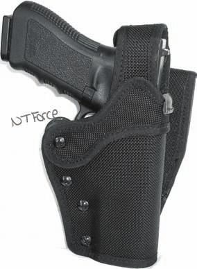 With the aid of our new HRTL (hidden retention trigger lock) locking device this holster will automatically secure the gun when re-holstered.