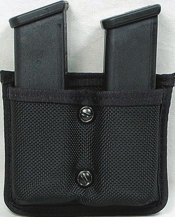 "BALLISTIC NYLON 43 ND407 BALLISTIC NYLON DOUBLE MAGAZINE HOLDER Rigid construction for durability. Sewn down nylon web belt loop, to fit a 2 1/4"" belt. Vertical or horizontal carry."
