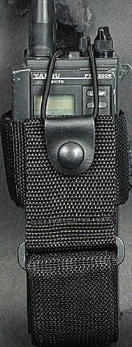 "5""(H) x 2 7/8""(W) x 1 1/4""(D) ND422-MS BALLISTIC NYLON ADJUSTABLE RADIO HOLDER This design has a Velcro adjustable strap. Sewn down belt loop, to fit a 2 1/4"" belt."