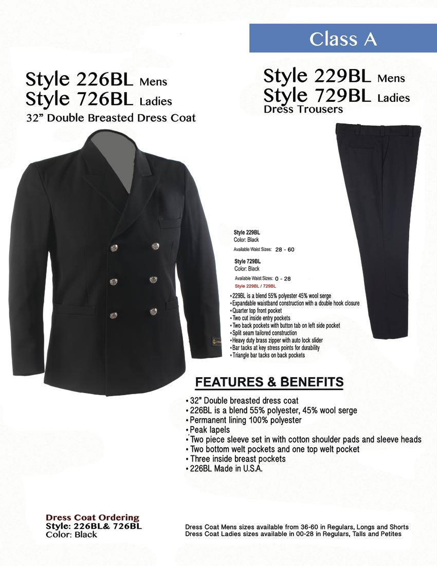 Style 226BL Mens Style 726BL Ladies 32 Double Breasted Dress Coat Style 229BL Mens Style 729BL Ladies Dress Trousers Dress Trouser Ordering Style: 229BL Color: Black Avaliable Waist Sizes 28-60
