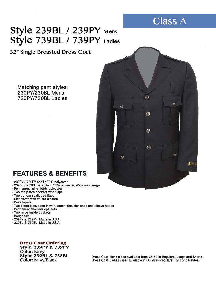 Style 239PY / 239BL Mens Style 739PY / 739BL Ladies 32 Single Breasted Dress Coat Matching pant styles: 230PY/230BL Mens 730PY/730BL Ladies 239PY / 739PY shell 100% polyester 239BL / 739BL is a blend
