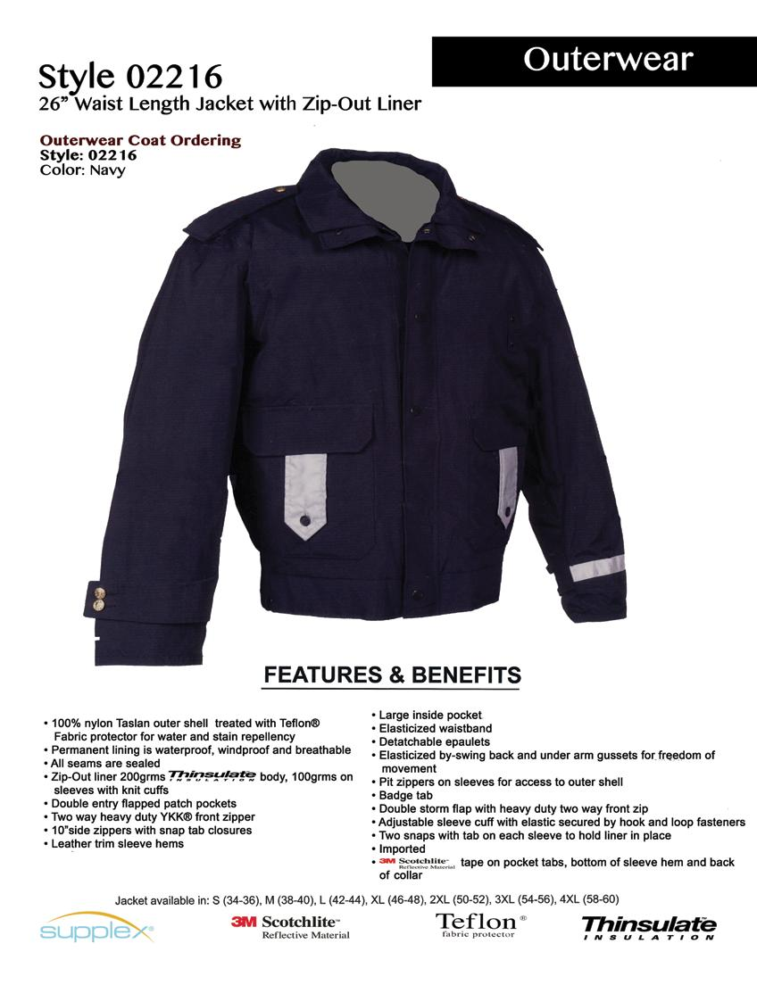 Style 02216 26 Waist Length Jacket with Zip-Out Liner Outerwear Coat Ordering: Style: 02216 Color: Navy 100% nylon Taslan outer shell treated with Teflon Fabric protector for water and stain