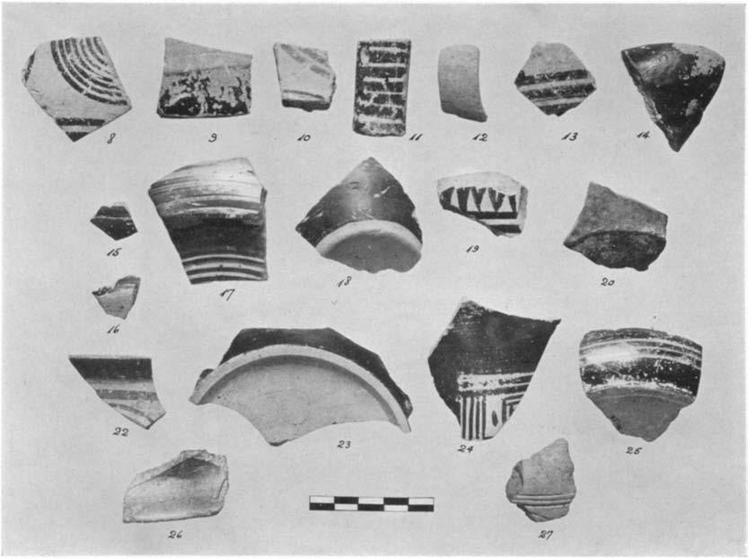 A GEOMETRIC HOUSE AND A PROTO-ATTIC VOTIVE DEPOSIT 555 A. Selected sherds from within or under the house-floor 8-20. (P 1605-1617) Figs. 12-13 Fragments of vases of various shapes; Nos.