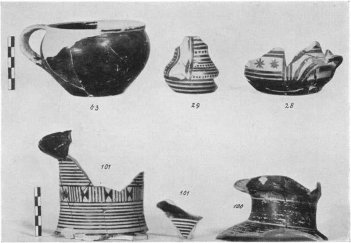32 late Geometric or Proto-attic; Nos. 33-34 Developed style; Nos. 35-36 Incised Polished ware.