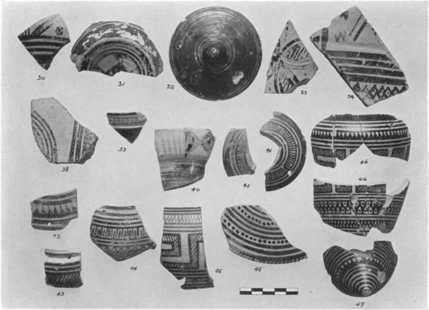 -f Fig. 16. Geometric and Proto-attic Sherds from the Filling over the Houlse (Nos. 30-34) and Outside it (Nos.