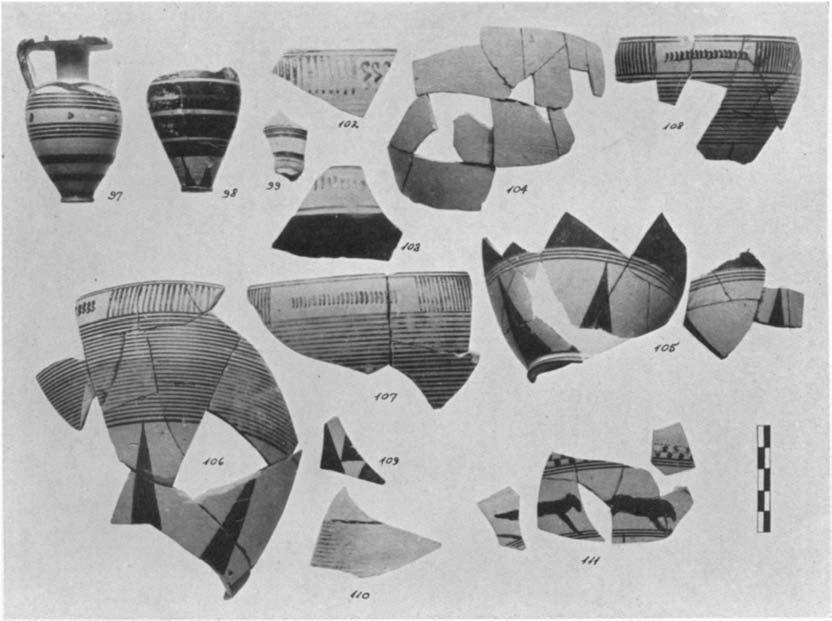 A GEOMETRIC HOUSE AND A PROTO-ATTIC VOTIVE DEPOSIT 567 is generally considered early. The style of the latter is pre-dipylon and would usually be dated about the beginning of the eighth century.
