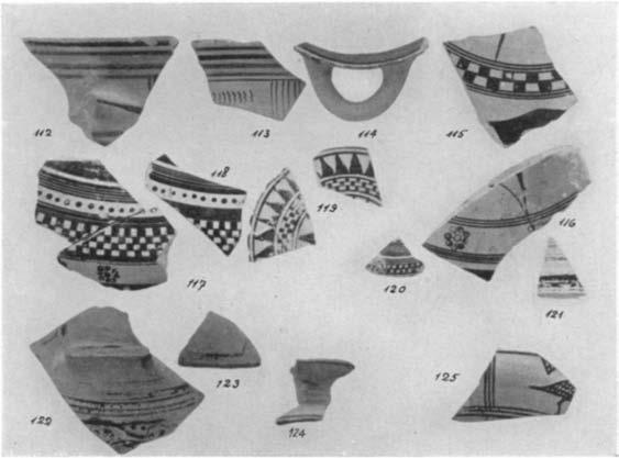 A GEOMETRIC HOUSE AND A PROTO-ATTIC VOTIVE DEPOSIT 569 102-111. (P 1680-1683; P 842; P 1685-1689) Fig. 26 Fragments from skyphoi; Nos. 102-104 Early and Nos. 105-111 Middle Protocorinthian period.