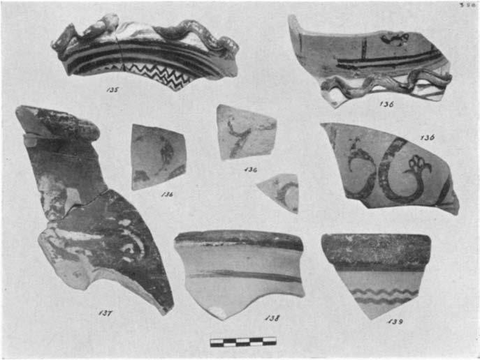 A GEOMETRIC HOUSE AND A PROTO-ATTIC VOTIVE DEPOSIT 575 135. (P 1710) Figs. 33-34 Rim fiagment decorated with a snake in relief covered with white dots; zigzags on the neck below. From Area A-C. H. 0.