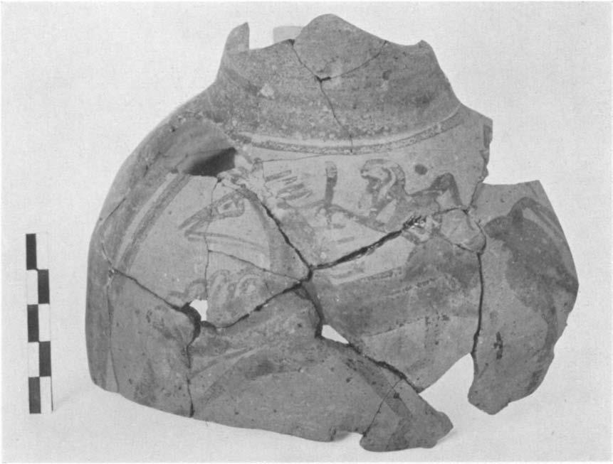 212. (P 17 0) Fig. 50 A GEOMETRIC HOUSE AND A PROTO-ATTIC VOTIVE DEPOSIT 593 Similar handle and bits of the body glazed solid with one wlhite line aroulnd the neck and two below the h1aindle.