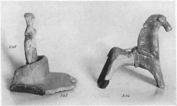 A GEOMETRIC HOUSE AND A PROTO-ATTIC VOTIVE DEPOSIT 619 H. 0.112 m.; W. at bottom 0.051 in. The breakage inidicates that the body inay have been hollow.