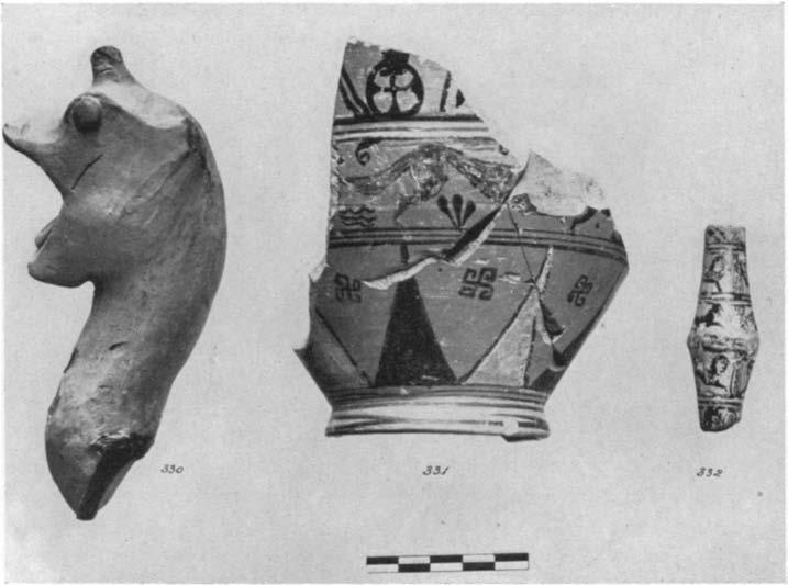622 DOROTHY BURR 331. (P 1936) Fig. 88 Fragment of the lower part of a large kantharos. Above the riing-foot alternatinlg black anid wlhite rays, with swastika filling ornaments.