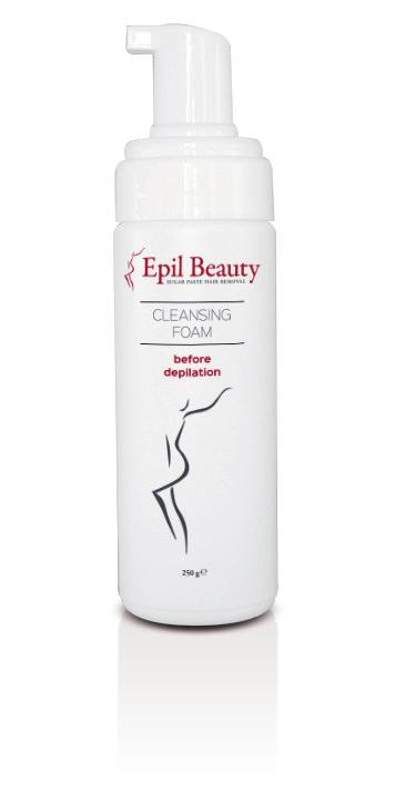 EPIL BEAUTY - PRODUCTS EPIL BEAUTY - PRODUCTS CLEANSING FOAM BEFORE DEPILATION This gentle foam is recommended for skin cleansing before the depilation procedure.