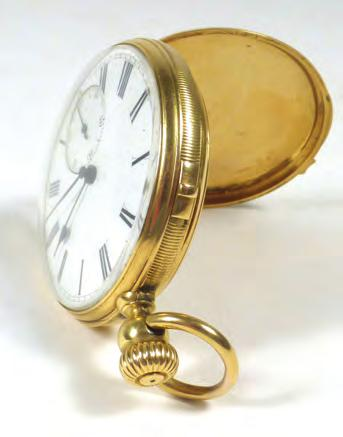 wristwatches and a yellow metal curblink chains suspending a St Christopher fob 80-120 607 A silver cased full hunter pocket watch by Thomas Russell &