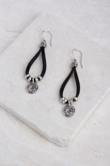 "Sterling Silver Swirl Earrings, Black Leather 2"" length"