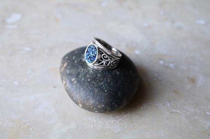 Ring, Blue Druzy Whole