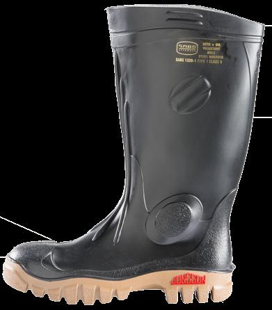 SABS APPROVED STEEL TOE CAP GUMBOOT SABS Approved Shin Reinforcement For Optimal Protection Superior 100% Polyester Sock Lining Ankle Recess For Comfort Reinforced Ankle Pad For Side Impact