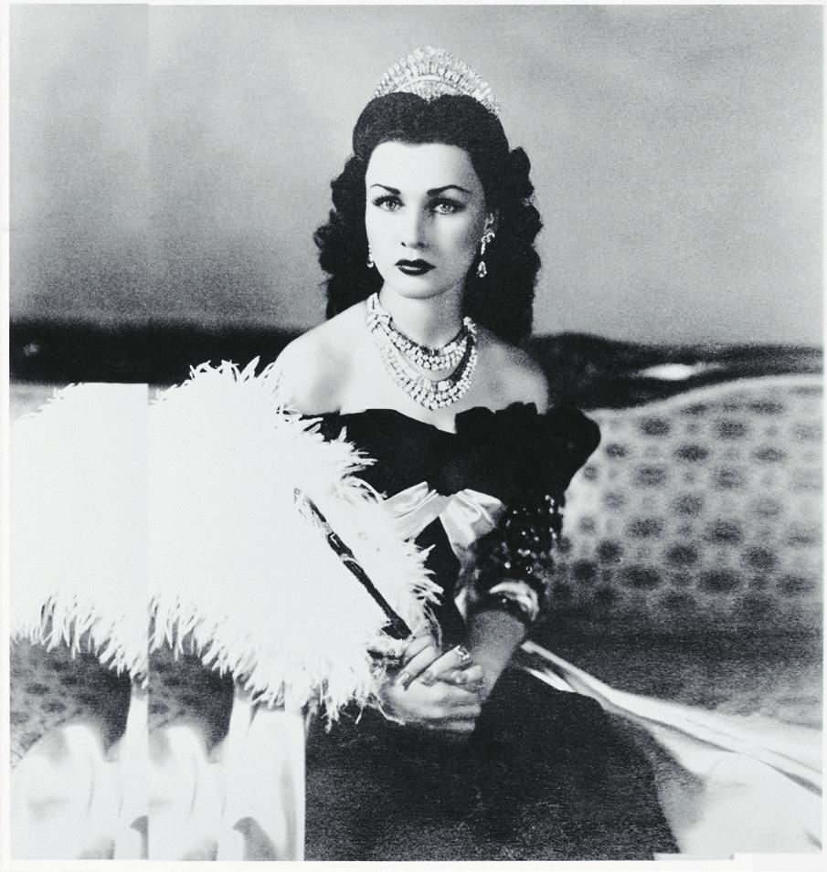 Princess Fawzia of Egypt wearing a set of diamonds created by