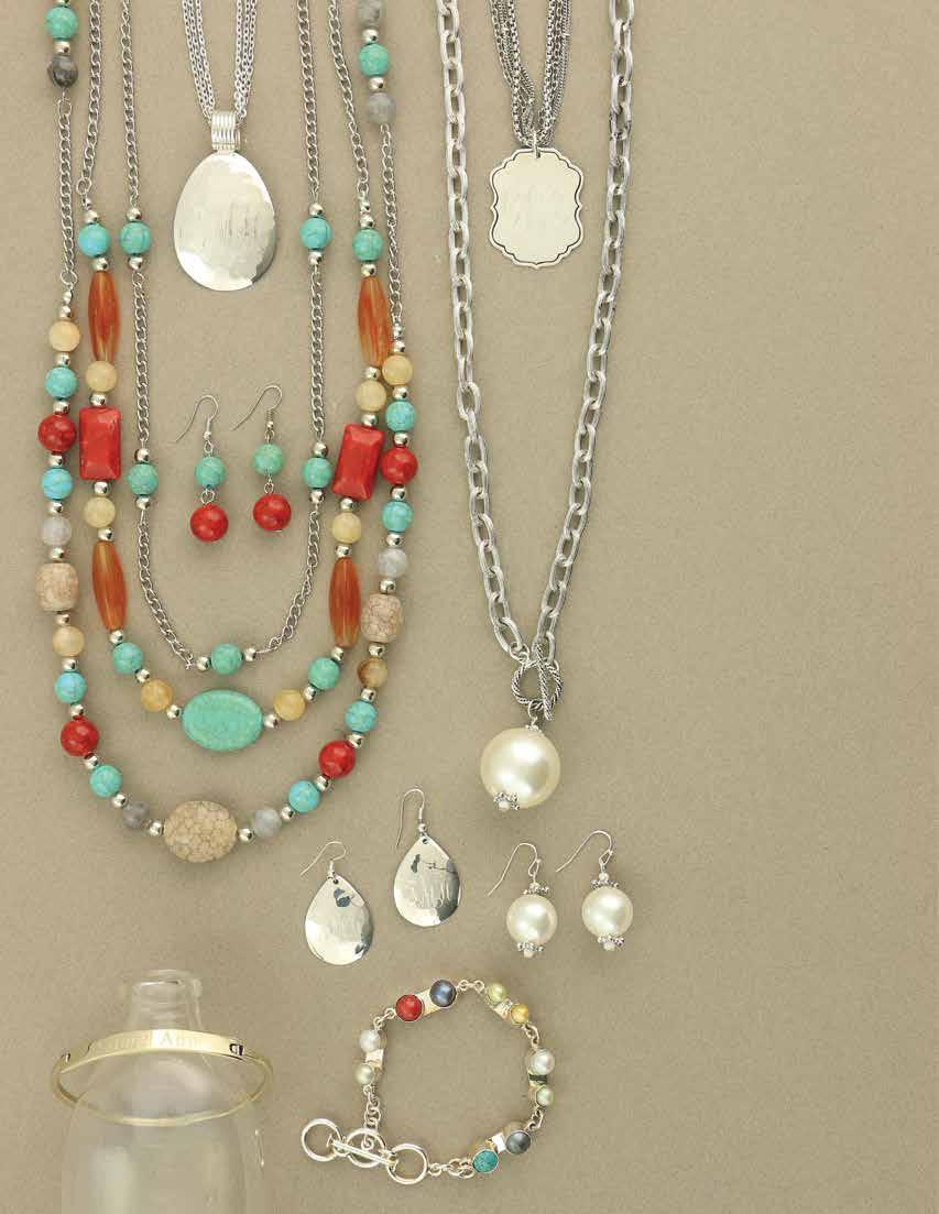 34 F. A. B. E. G. D. C. a. JS0155 $32 Anything Goes Necklace and Earring Set. Earthy tones of turquoise, red, grey, and beige on three strands of silver chain create a look that goes with anything!