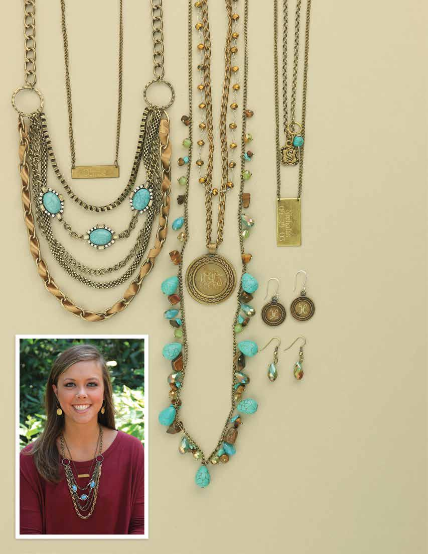 A. B. D. C. a. JN0744 $46 As Good As Gold Necklace. This turquoise accented multi layered goldtone chain bib style necklace is absolutely stunning.