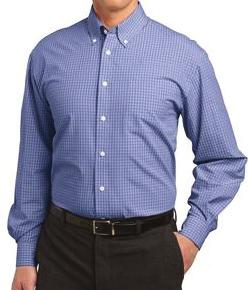 -plaid pattern -easy care shirt -55/45 2 oz -open