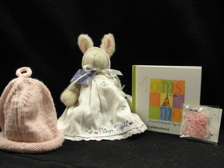 bunny, book for Mom, and pink bunny hair ties,