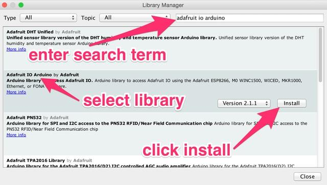 Enter Adafruit MQTT into the search box, and click Install on the Adafruit MQTT library