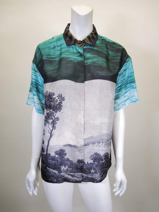 DRIES VAN NOTEN Mixed Printed Silk Blouse Size 12 Sold in one day for $159. 03/11/17 Another example of Van Noten s mixed prints comes with this short sleeve silk blouse.