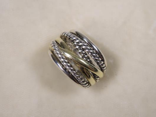 DAVID YURMAN Sterling and 14K Yellow Gold Crossover Wide Ring, Size 8 Retails for $850, sold in one day for $399.