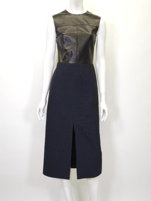 JASON WU Black Leather and Navy Cotton Dress, Size XS-S Retailed for $2000, sold in one day for $499.