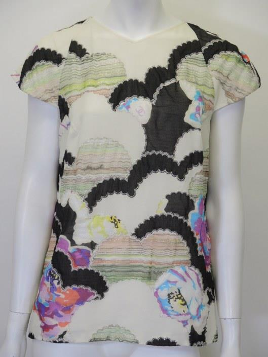 CHANEL Cream and Black With Colorful Patchwork Silk Blouse, Size 10 Sold in one day for $299.