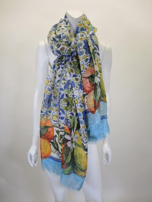 DOLCE & GABBANA Floral Mosaic Large Knit Scarf Retailed for $600, sold in one day for $249.