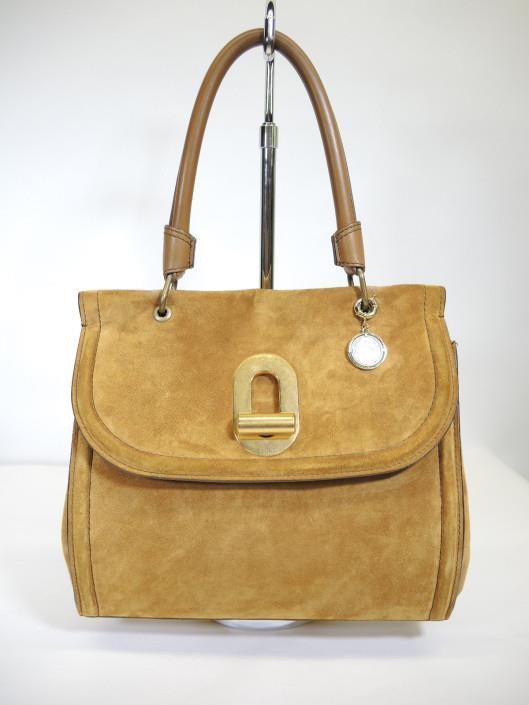 LANVIN Suede Gloria Turnlock Saddle Bag Retailed for $2590, sold in one day for $799. 02/25/17 This honey colored suede is oh so soft and yummy!