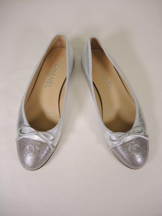 CHANEL Silver Ballet Flats Size 7 ½ Sold in one day for $269.