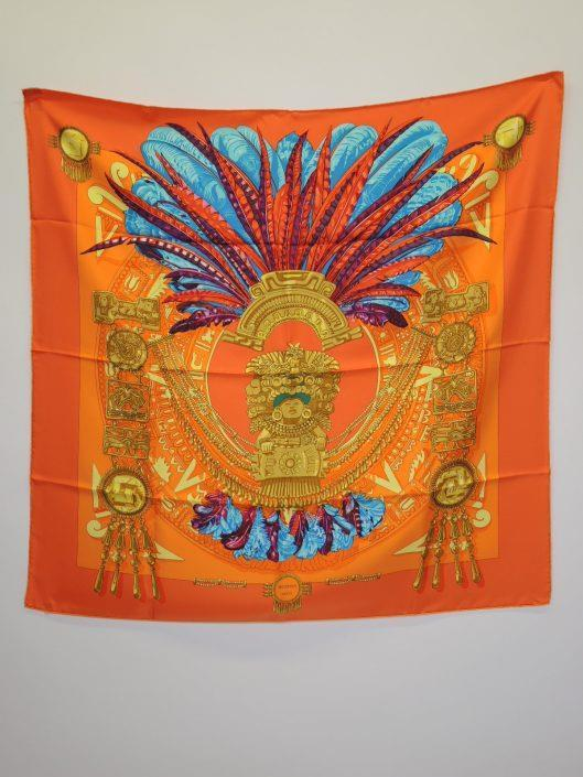 HERMÈS Orange Mexique by Cathy Latham Scarf Sold in one day for $299. 02/18/17 If you are looking for a brighter version of the Mexique scarf, then this one will catch your eye.