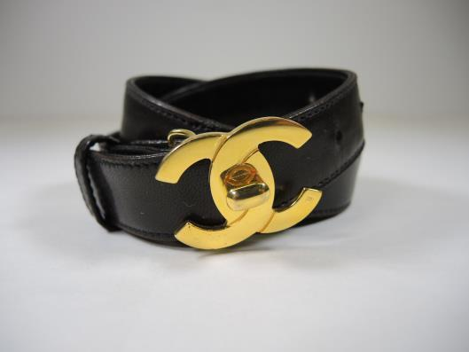 CHANEL Black Leather Belt with Gold CC Buckle Size S Sold in one day for $249.