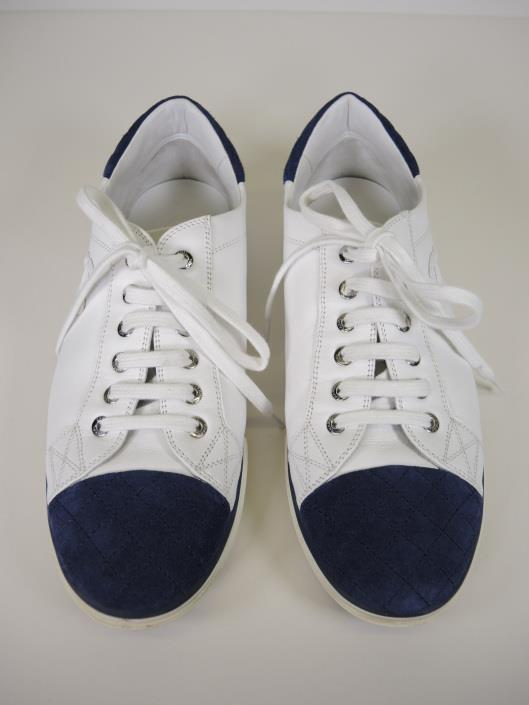 CHANEL White Leather Sneakers with Navy Quilted Suede Cap Toe and Heel, Size 10 Sold in one day for $249.