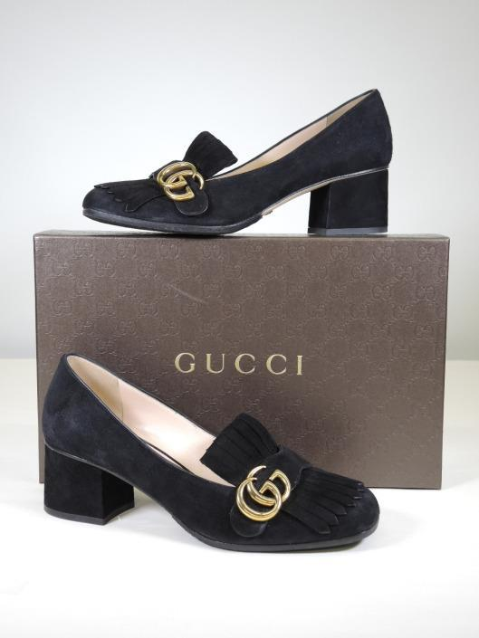 GUCCI Black Suede Marmont Fringe Pump, Size 8 Retails for $750, sold in one day for $249. 01/21/17 This easy-to-wear short block heel is hardly a pump, and for that, we are grateful.