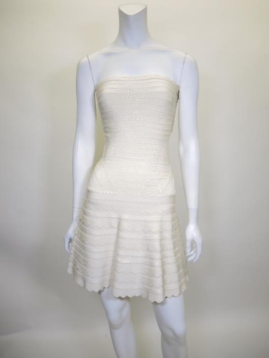 HERVE LEGER Cream Strapless Phoebe Dress Retailed for $1,590, sold in one day for $399.