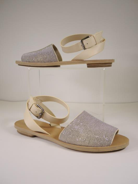 BRUNELLO CUCINELLI Silver Monili Sandals with Cream Wrap Around Ankle Strap, Size 7.5 Sold in one day for $299.
