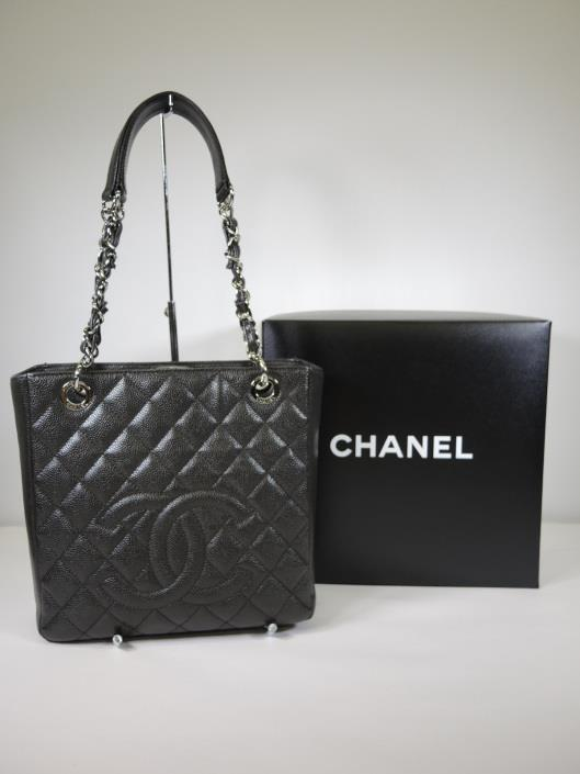 CHANEL 2014 Dark Grey Diamond Quilted Caviar Petite Shopping Tote Retailed for $2200, sold in one day for $1400.