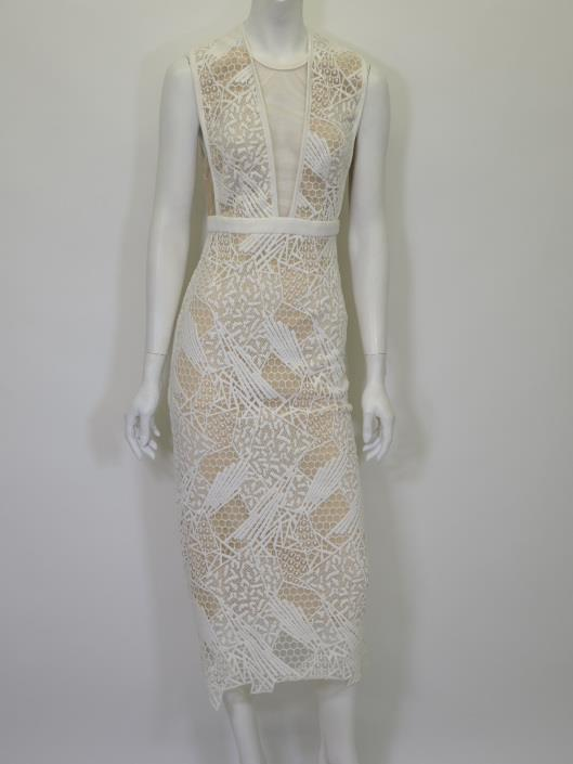 MANNING CARTELL White Lace Nude-Illusion Dress, Size 2 Retailed for $695, sold in one day for $249.