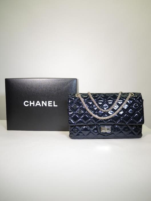 CHANEL Midnight Blue Patent 266 Reissue 2.55 Double Flap Purse Retailed for $4900, sold in one day for $3500.